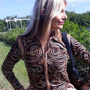 Designer zip up Bolero shirt jacket small